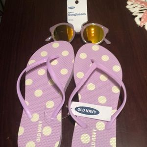 Brand new Old Navy Flip Flops and Sunglasses!
